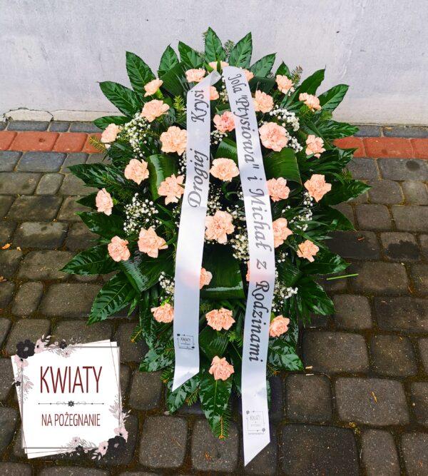 Wiązanka pogrzebowa duża z naturalnych kwiatów i białą szarfą