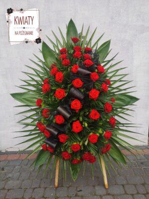 Wieniec pogrzebowyz czerwonych róż