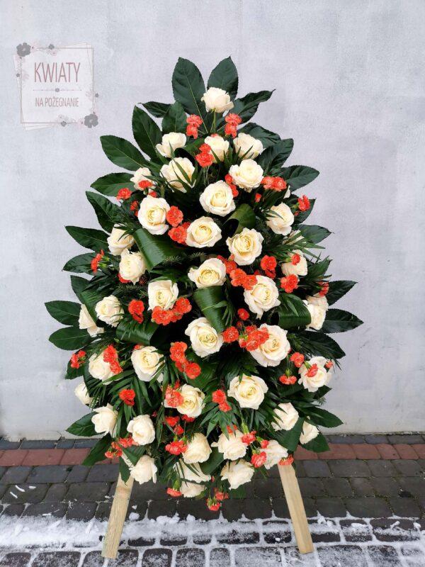 Wieniec pogrzebowy z naturalnych kwiatów - białe i czerwone róże