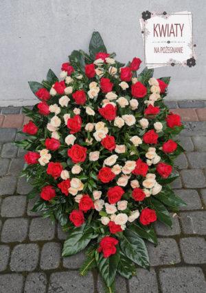 Wiązanka pogrzebowa duża z biało-czerwonych róż