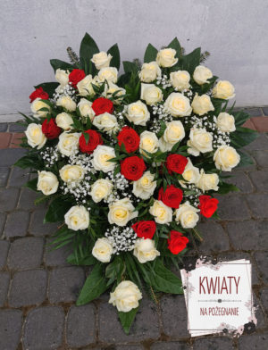 Wieniec pogrzebowy serce z białych i czerwonych róż