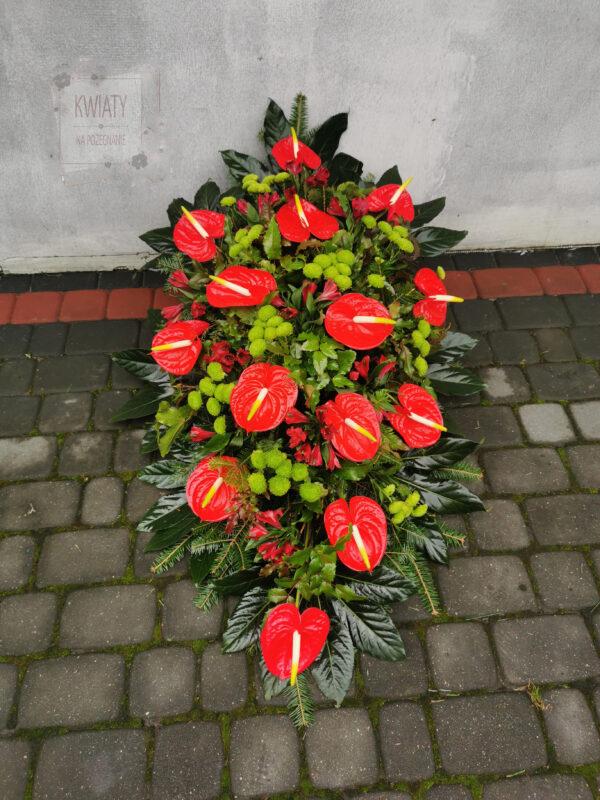 Wiązanka Pogrzebowa klasyczna z naturalnych, zółtych i czerwonych kwiatów