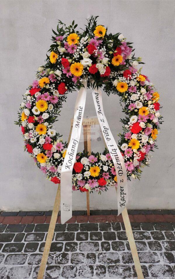 Wieniec pogrzebowy Rzymski - w kształcie koła z kolorowych kwiatów