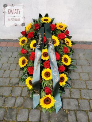 Duża wiązanka z naturalnych kwiatów na pogrzeb