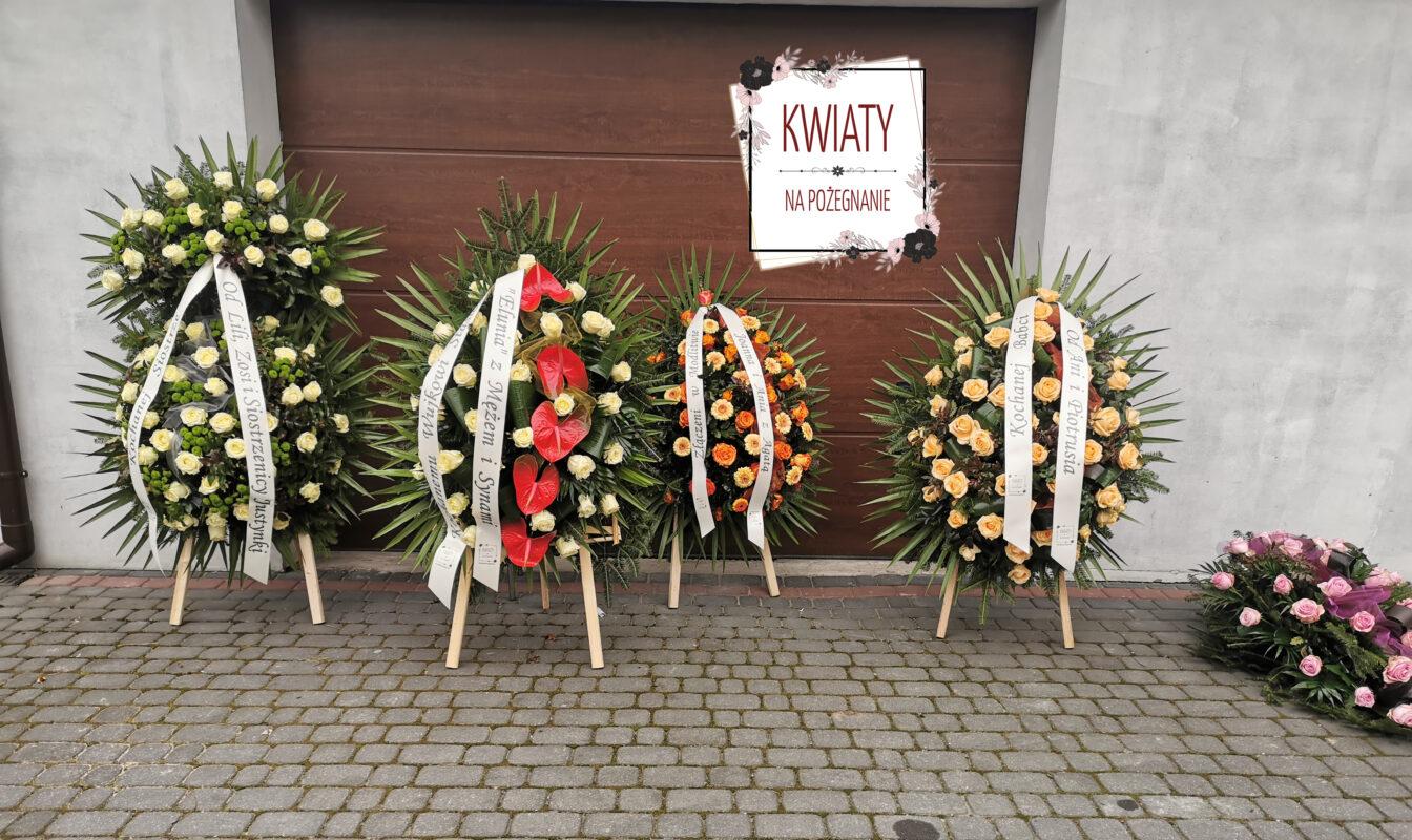 Oprawa florystyczna pogrzebu - 4 wieńce pogrzebowe i wiązanka pogrzebowa